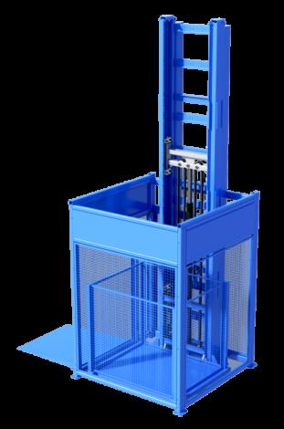 Mast driven goods lift